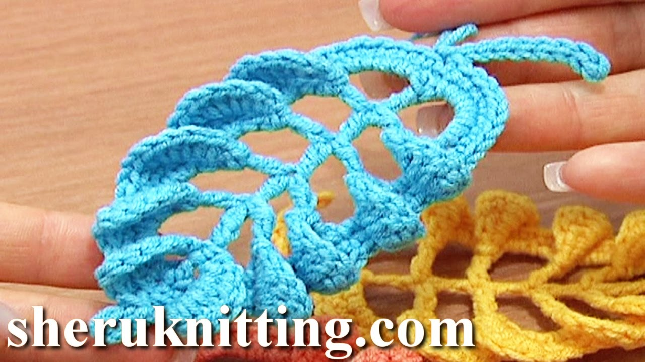 3D Crochet Leaf Tall Stitches Tutorial 28 Part 1 of 2 Complex Stitch ...