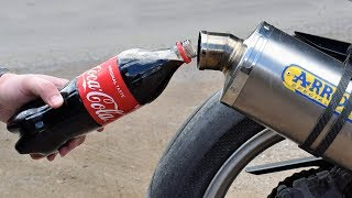EXPERIMENT COCA COLA in MOTORCYCLE EXHAUST