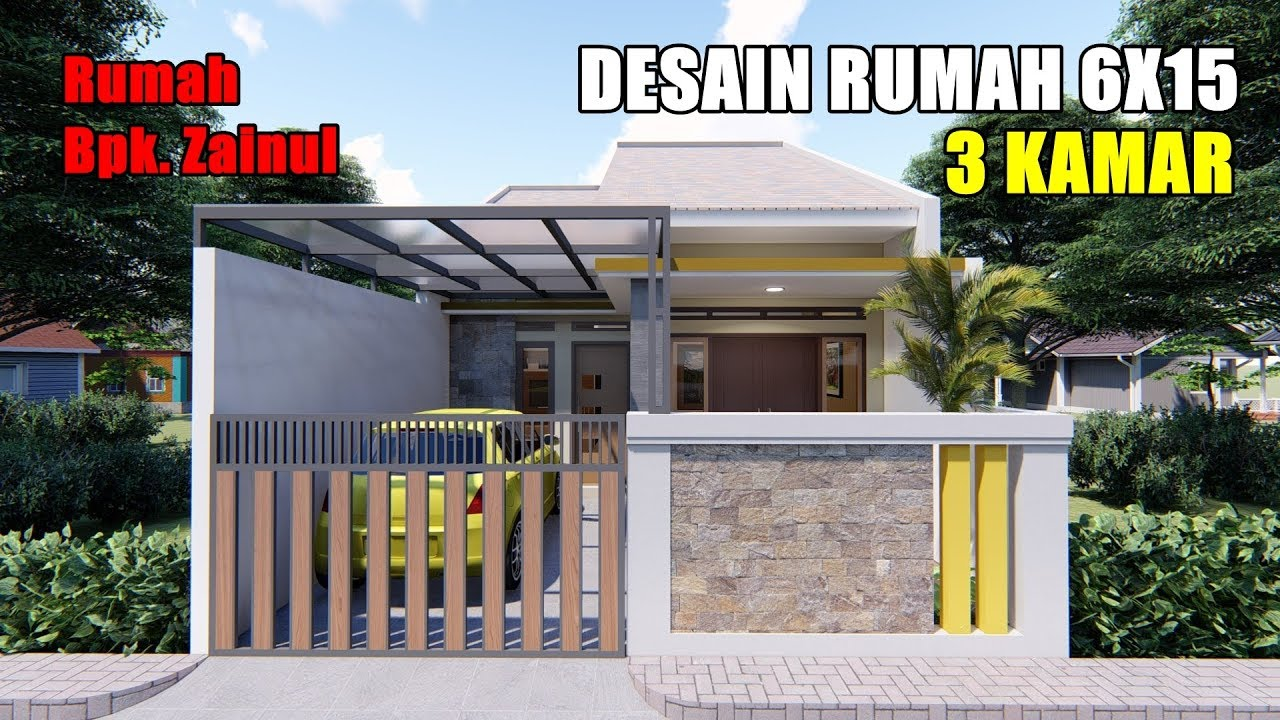 DESAIN RUMAH 6X15 M DENGAN 3 KAMAR DAN TAMAN DITENGAH RUMAH - YouTube