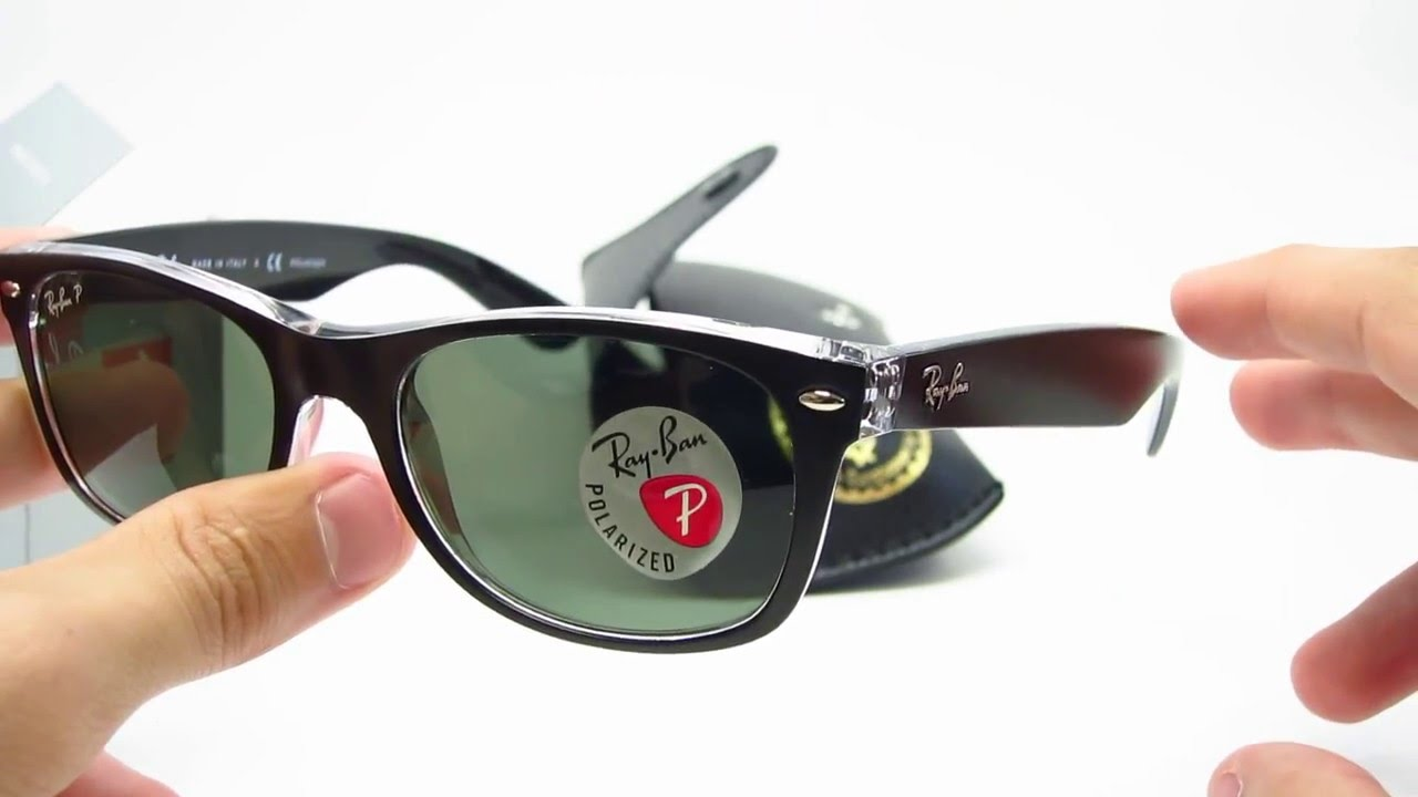 9644282bf4f Ray-Ban RB 2132 Unboxing New Wayfarer Top Black on Transparent ...