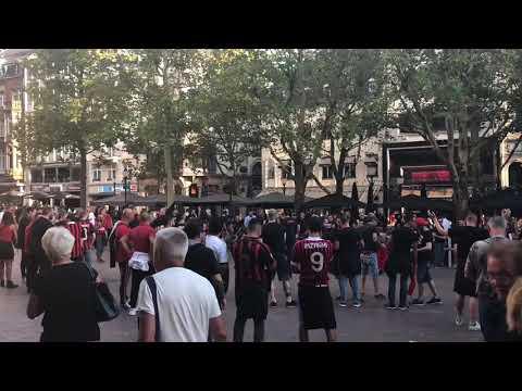 Les supporters de Milan à Luxembourg