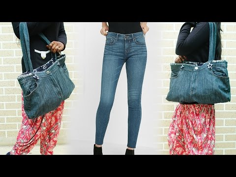 How To Make Hand Bag From Old Jeans - DIY | Refashion Clothes thumbnail