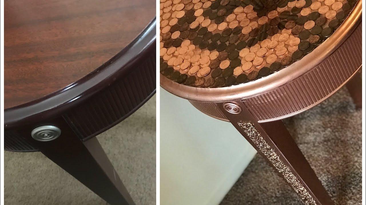 Diy Home Decor Penny Tabletop Revamped Coffee Table Penny Art Diy