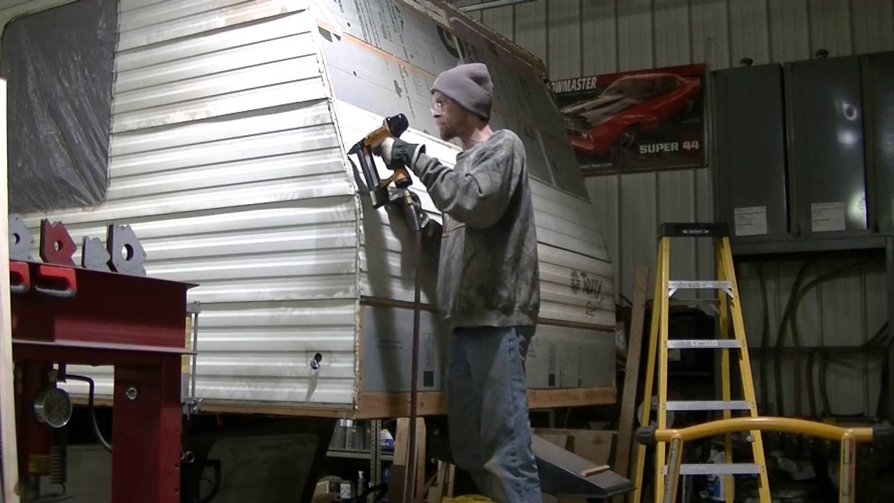 "Vintage Trailer Resort >> 92 Terry Resort 5th Wheel Camper Build ""Front Siding Install"" Diamond Plate Aluminum - YouTube"