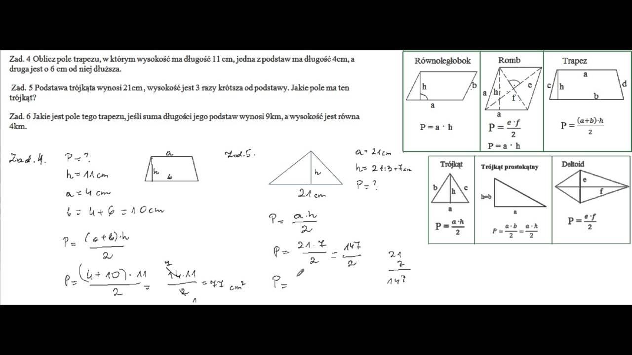 pola figur płaskich sprawdzian klasa 5 pdf