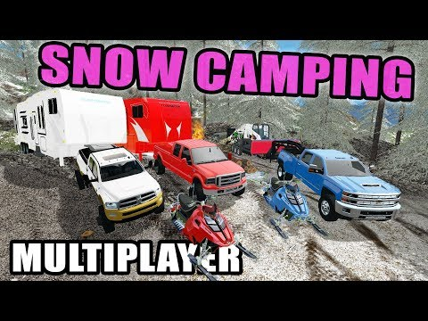 FARMING SIMULATOR 2017 | WINTER CAMPING OUT IN THE WOODS + 2 TOY HAULER & SNOWMOBILES | MULTIPLAYER