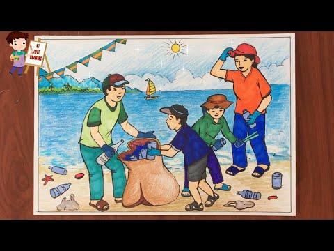 Vẽ tranh đề tài: Bảo vệ môi trường biển - Chung tay nhặt rác làm sạch môi trường biển.