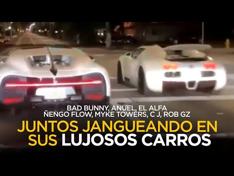 Imágenes del jangueo de Bad Bunny, El Alfa, Anuel, Myke Towers, Ñengo Flow juntos por Miami 🔥