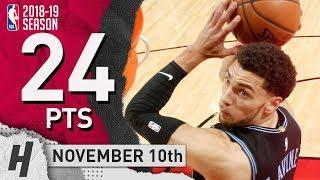 Zach LaVine Full Highlights Bulls vs Cavaliers 2018.11.10 - 24 Pts, 5 Ast, 8 Rebounds!