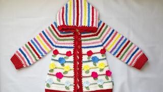 Sweterek na szydełku dla dziecka z kapturem wiosenny 1/3 4K