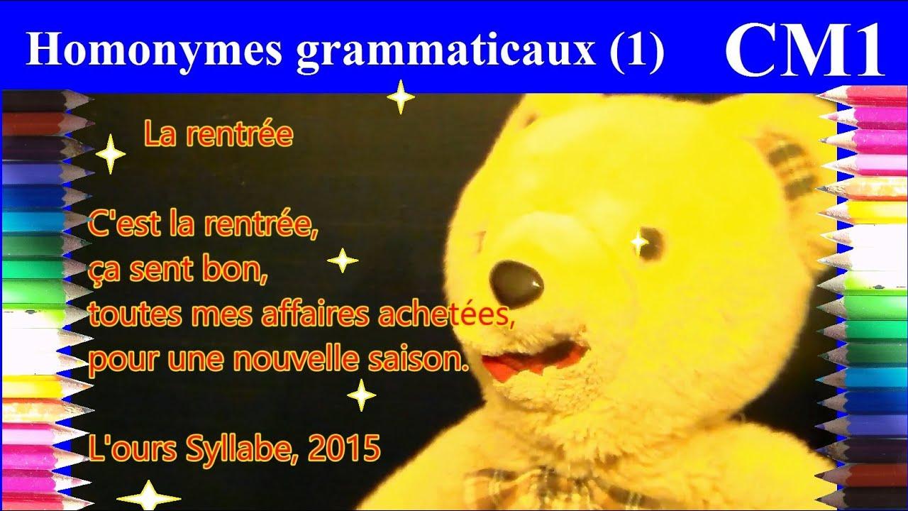 Orthographe cm1 : Homophones grammaticaux (1) Poème : La ...