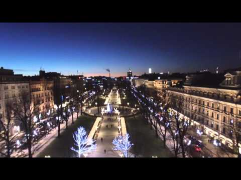 Helsinki lit up with christmas lights
