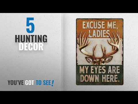 Top 10 Hunting Decor [2018]: River's Edge Eyes Down Here Tin Sign