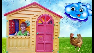 Richard pretend play with playhouse for kids