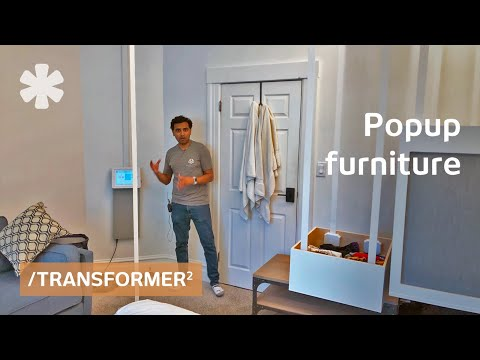 Transformer furniture hidden on ceiling deploys by command