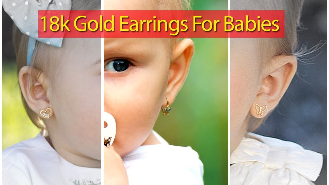 18 Karat Gold Earrings For Babies