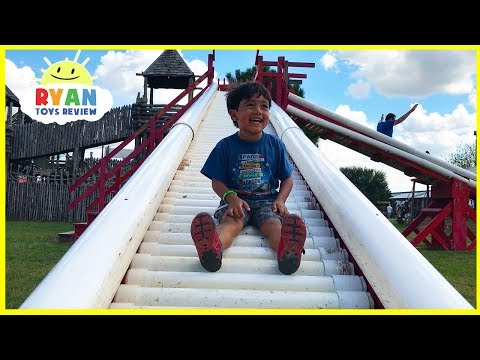 Kids Family Fun Trip to the Farm with Giant Slides for Halloween!!!