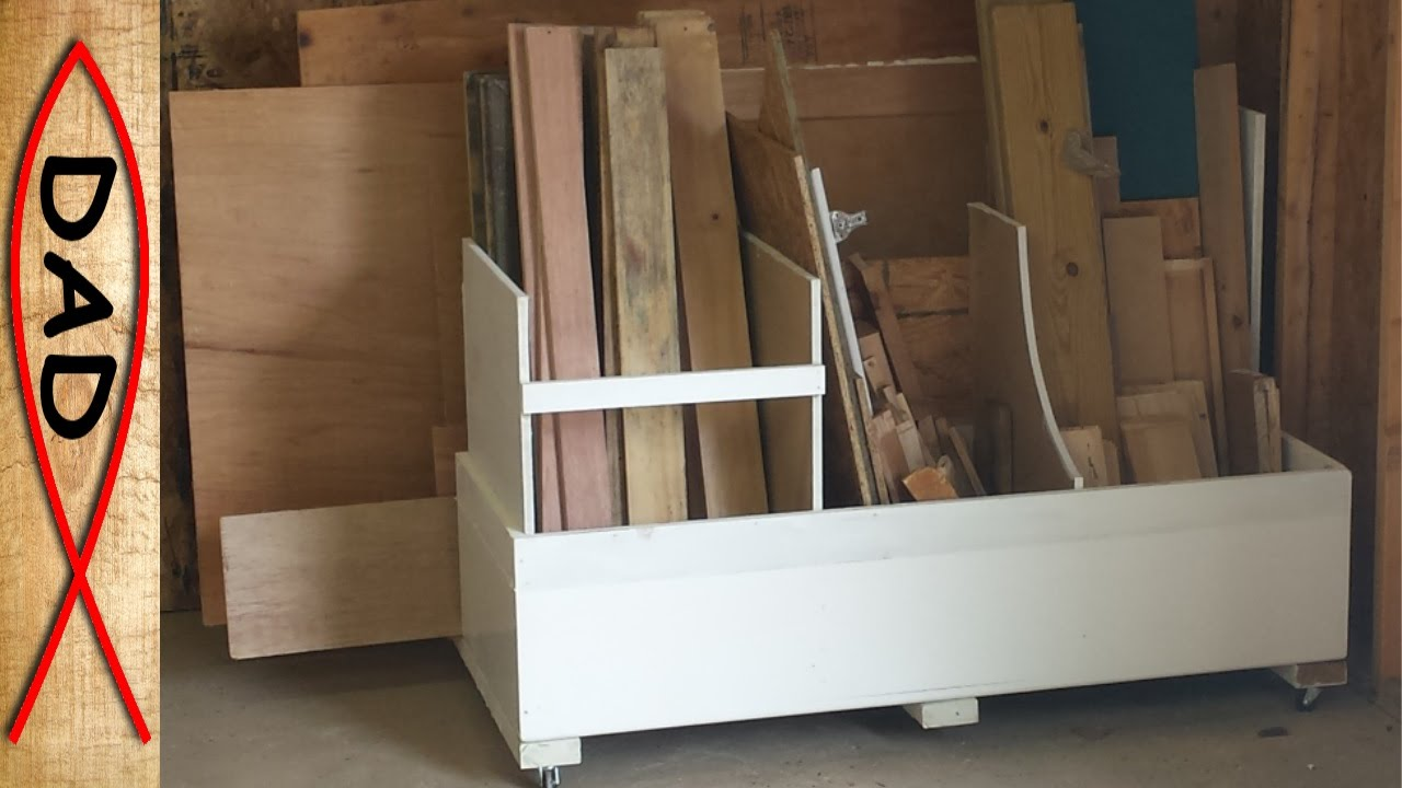 Scrap wood storage cart - odd lumber and cutoffs - YouTube
