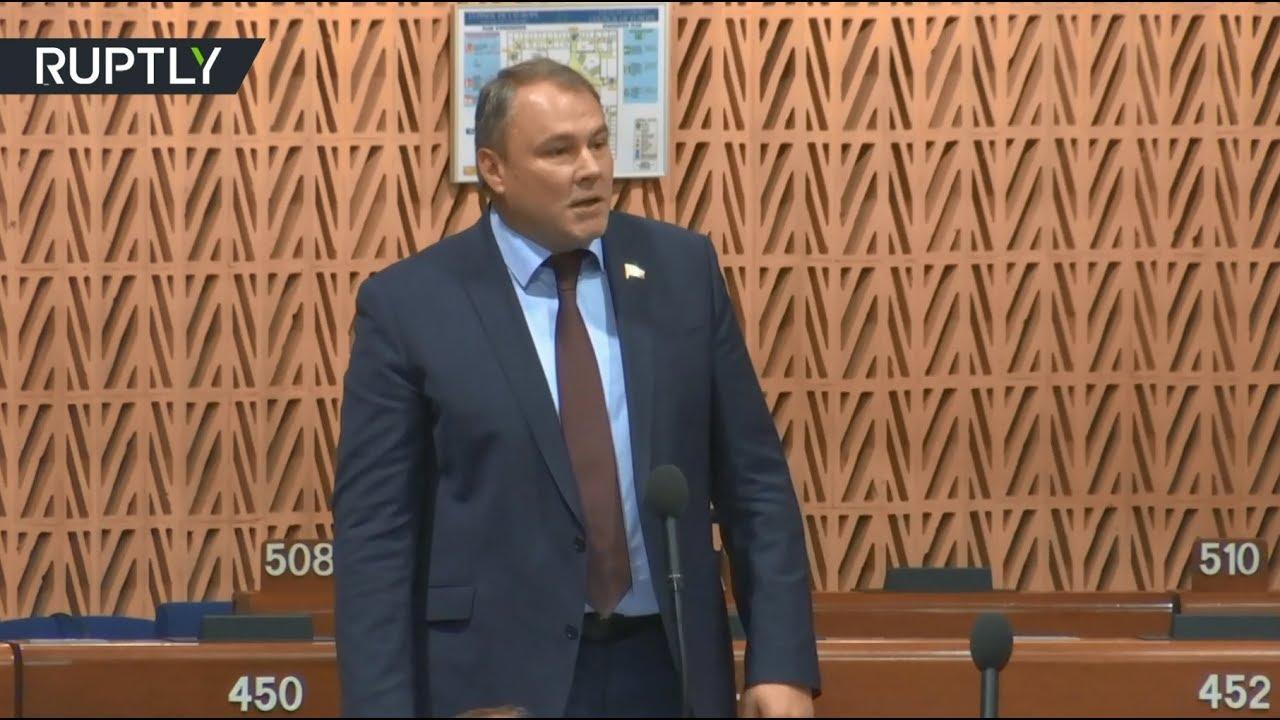 Активист попытался сорвать выступление главы российской делегации в ПАСЕ