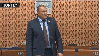 Активист попытался сорвать выступление главы российской делегации в ПАСЕ — видео