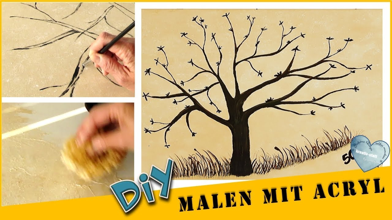 Diy Paint Acrylic Tree For Party Game Background With Sponge