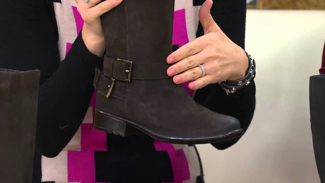 4732609b Clarks Leather Tall Shaft Boots w/ Buckle Detail - Plaza Steer with Jane  Treacy