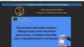 Честный взгляд на заработок в интернет от пенсионера Анатолия Рудкова. Честный отзыв.