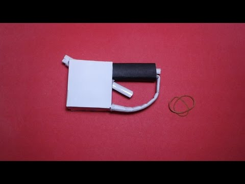 | DIY | How to make a paper mini '' PENGUİN GUN'' that shoots rubber bands- EASY TUTORİAL