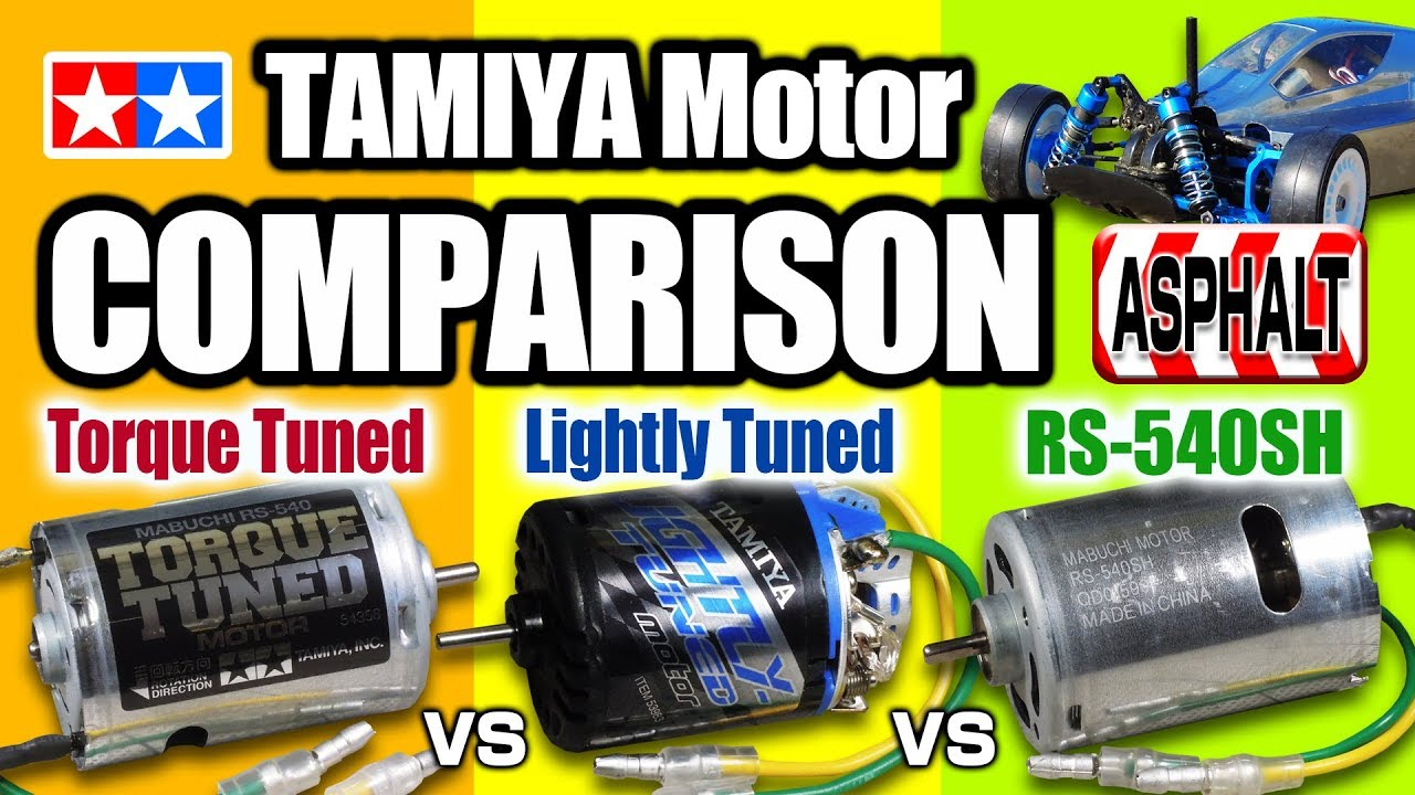 TAMIYA Brushed Motor Comparison(TORQUE & LIGHTLY Tuned, RS-540SH) ASPHALT  ver  TT-02B Neo Scorcher