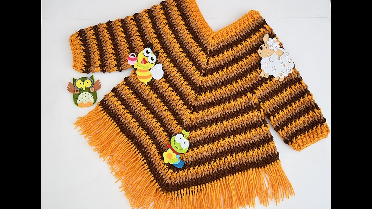 Poncho con mangas a crochet para niña muy fácil Majovel #crochet #ganchillo