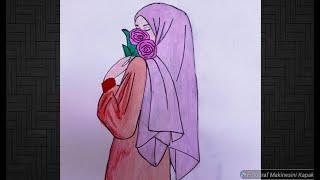 Tesettürlü Kız Çizimi 💜 Kapalı kız çizimi 🖌️