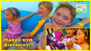 Hailey plays on Water Slides at Amusement Park with Friends for Birthday!