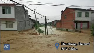 Firefighters are hard at work rescuing villagers in NW China
