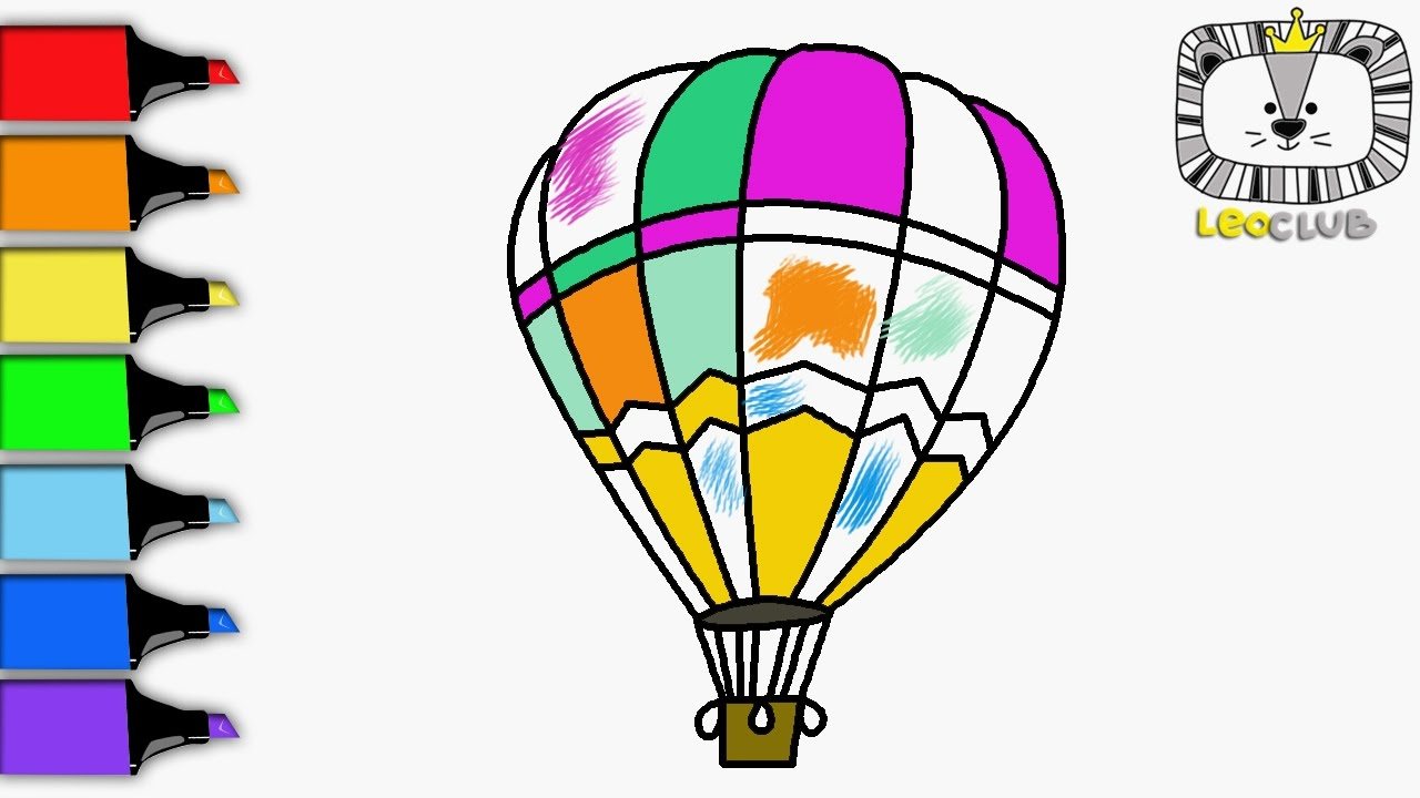 How To Draw Hot Air Balloon. Learning Coloring Pages For