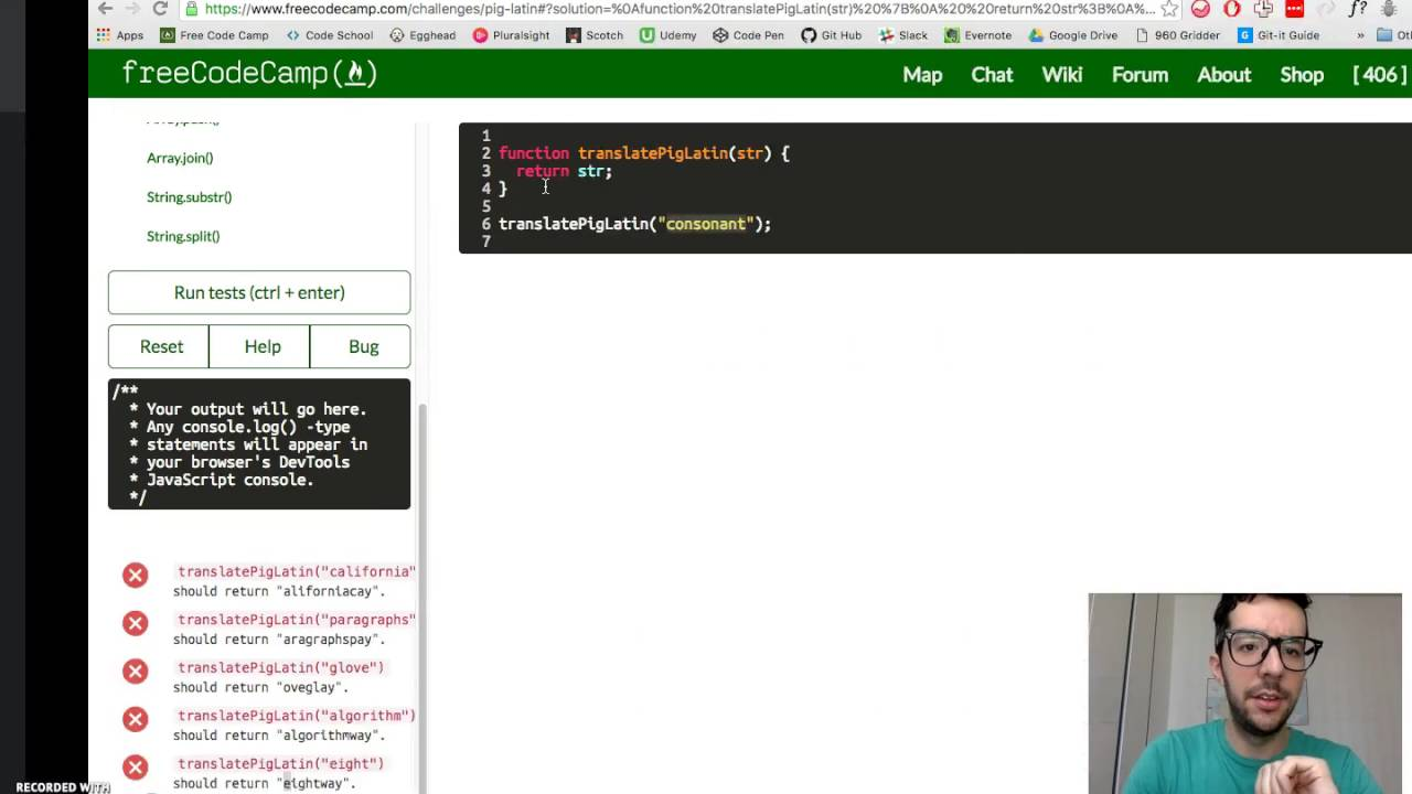 Pig Latin -- JavaScript -- Free Code Camp