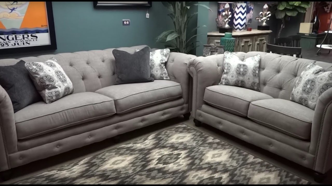 Superb Ashley Furniture Azlyn Sepia Tufted Sofa U0026 Loveseat 994 Review   YouTube