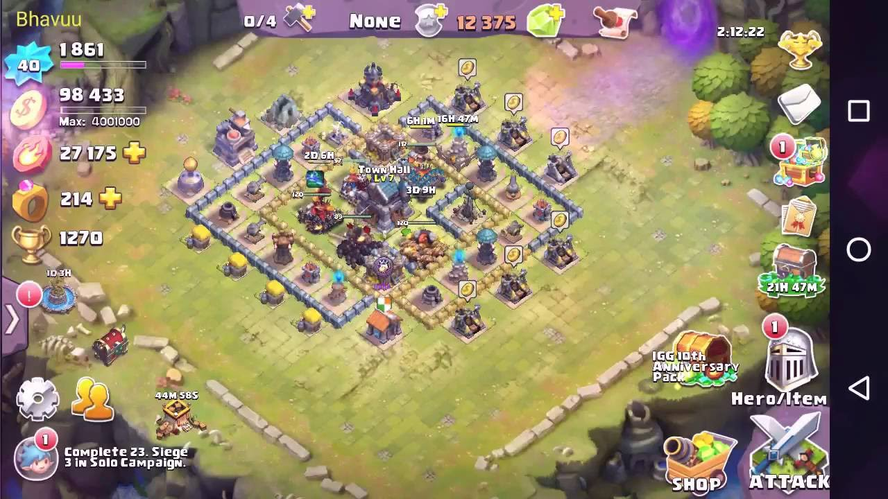 clash of lords 2 best defense base for town hall 7 youtube