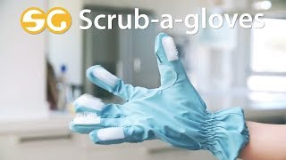 Cleaning Gloves with Scrub-a-Gloves brushes