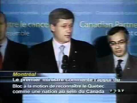 """Stephen Harper / says """"Québécois"""" form a Nation / dit que les «Québécois» forment un nation"""