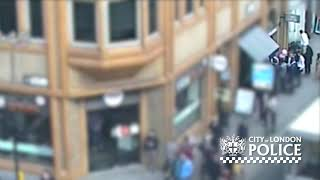 CCTV of homeless man attacked outside sandwich bar - City of London Police