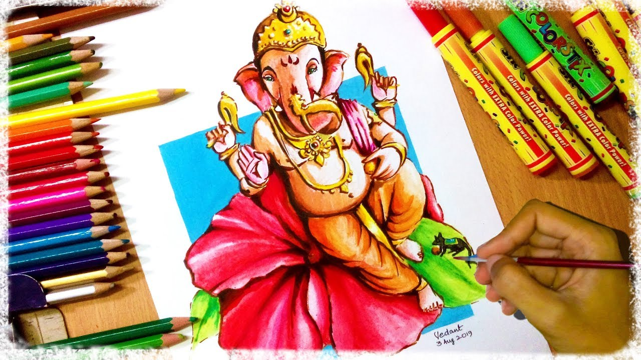 Ganpati Drawing very easy , how to draw Ganpati , Decoration Painting