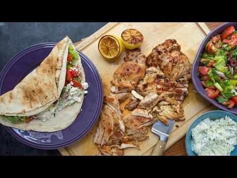 Chicken Pitas With Greek Salsa And Zucchini Tzatziki