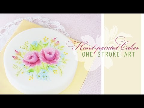 ONE STROKE ART, How to hand paint beautiful roses on cakes