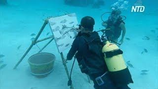 Кубинский художник рисует картины на дне океана