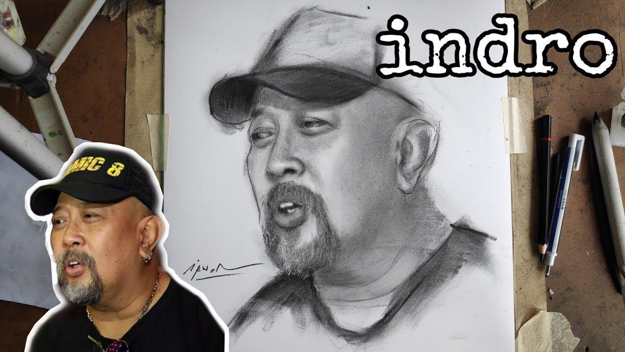 Sketsa Wajah INDRO WARKOP Menggunakan Pensil Arang By Irwan
