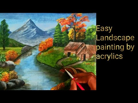 Easy landscape painting by acrylic colours time-lapse video