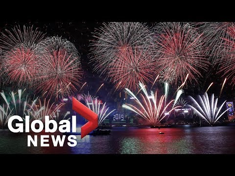 New Year's 2019: Hong Kong's Victoria Harbour lit up by spectacular display
