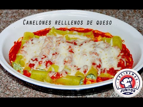 Canelones rellenos de queso y espinacas