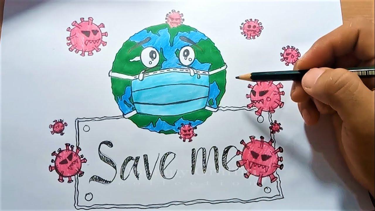 How To Draw Save Earth From Coronavirus Youtube