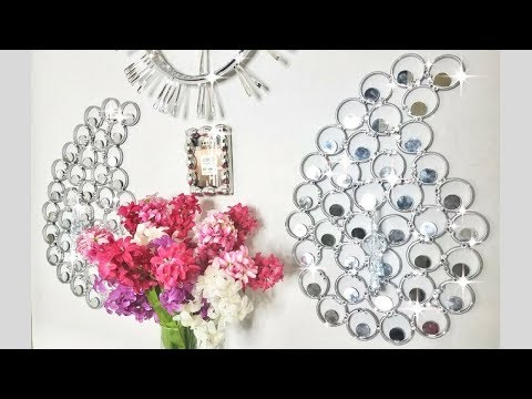 Diy Glam Wall Decor with Mirrors That has Minimal lighting!